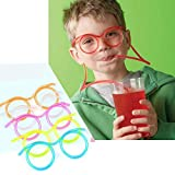 #8: Generic Hot! Funny Soft Glasses Straw Unique Flexible Drinking Tube Kids Party Accessories random color