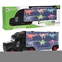 Woyisisi Portable Alloy Truck Carrying Container Toy with 6 Dinosaur Toys Kids Toy Set