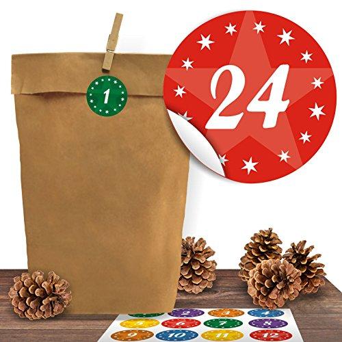 Adventino Adventskalender 24 Kraftpapiertüten mit 24 weihnachtlichen Aufklebern Kindermotive zum Verschließen als Weihnachts-Geschenktüte zum Basteln und Befüllen