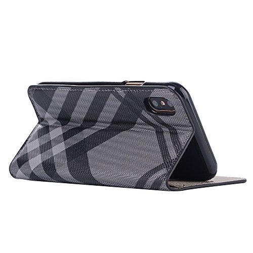 iPhone X Coque,Valenth PU Cuir en maille de motif Portefeuille Coque avec fonction Stand et Slots de carte pour iPhone X Grey