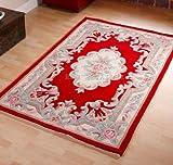 Think Rugs Tapis en Laine Chinois en Design Fait Main Traditionnel Aubusson Rouge 120x 180cm ou 4'x6'...