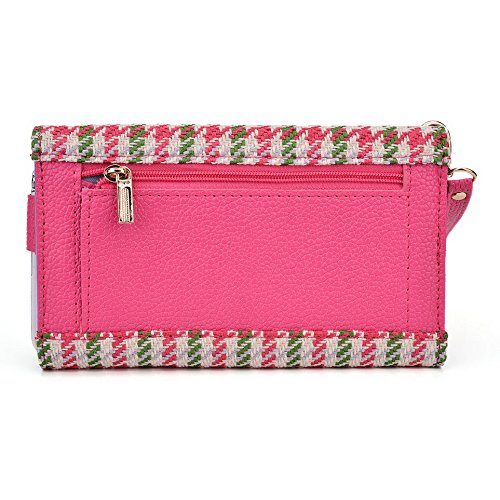Kroo Transport Wallet Wristlet Case pour Samsung Galaxy S III mini Value Edition/Ace Style/Core bleu Pink Houndstooth and Magenta