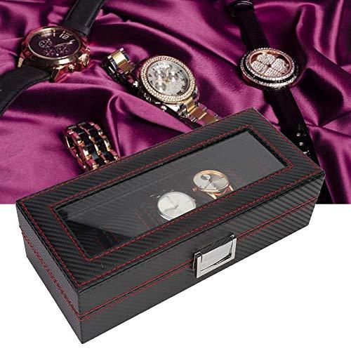 yuyte Caja de Exhibición de Almacenamiento de Reloj de 5 Ranuras, Organizador de Contenedor de Almacenamiento de Caja de Exhibición de Caja de Reloj de Estilo de Fibra de Carbono Elegante