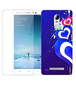 Indiashopers Combo of Love Heart Abstract HD UV Printed Mobile Back Cover Case and Tempered Glass For Xiaomi Redmi Note 3