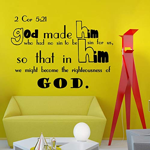 Dalxsh Wall Decals Bible Verse Psalms 2 Corinthians 5:21 God Made Him Vinyl Wall Sticker Quotes Living Room Wall Tattoo Art Mural 58X42Cm