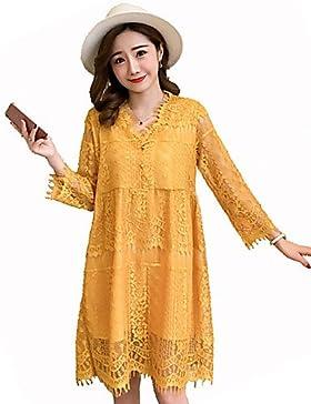 GAOLIM Mujeres Vestido Suelto: Sólido, De Cintura Alta Cuello V,Amarillo,Xxl