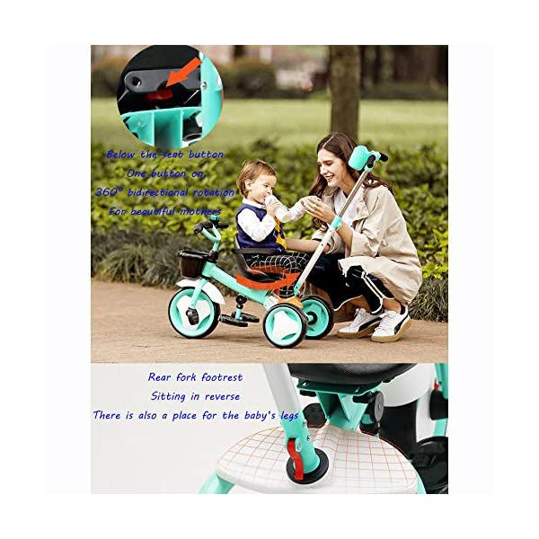 3 In 1 Kids' Trikes 18 Months To 6 Years 360° Swivelling Saddle Seat Can Be Adjusted Back Kids Tricycle Detachable And Adjustable Push Handle 3 Wheel Baby Bike Maximum Weight 25 Kg,Orange BGHKFF ★Material: High carbon steel frame, sturdy, lightweight, durable; suitable for children aged 1.5-6, maximum weight 25 kg ★ 3-in-1 multi-function: convertible into a trolley and a pedal tricycle. Remove the hand putter as a tricycle. ★Safety design: golden triangle structure, safe and stable; front wheel clutch, will not hit the baby's foot; 2 point seat belt 6