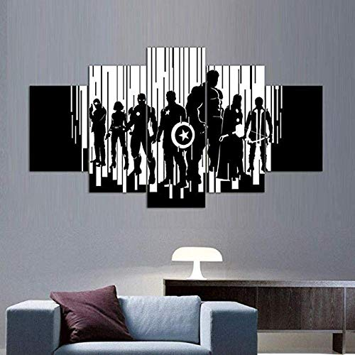 nwand Auf Leinwand Gedruckt Drucke  Modern Painting Canvas Wall Art Pictures Home Decor  S Black White Avengers Hd Printed Movie Poster -A Rahmenlos ()