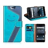 MOBESV Smiley Nokia 5 Hülle Leder, Nokia 5 Tasche Lederhülle/Wallet Case/Ledertasche Handyhülle/Schutzhülle für Nokia 5, Aqua/Dunkel Blau