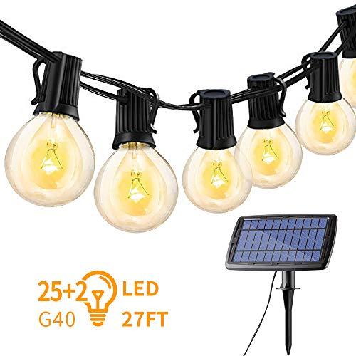 Jolicobo Solar LED Lichterkett 27ft IP45 Waterroof G40 Beleuchtungslicht Wiederaufladbare 27 (25 + 2) Beleuchtete Warmweiß Lichterkette für Garten Terrasse Hof Haus Party