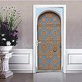 Svsnm Gold Gedruckt Retro Eisentor Wandaufkleber Schlafzimmer Hauptwanddekor Poster PVC Wasserdichte Tür Aufkleber Nachahmung Muslimischen 3D Aufkleber
