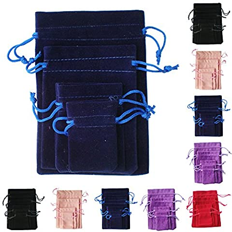 TtS 10pcs 5x7cm Velvet Pouches Bags Drawstring Jewelry Gift Packaging - Navy Blue