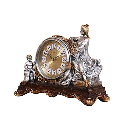 Unbekannt Tischuhr Mantel Uhren Wohnzimmer Schlafzimmer Harz europäischen Stil Retro Mute Clock Dekoration Dekoration -Max Home (Farbe : Antikes Silber)