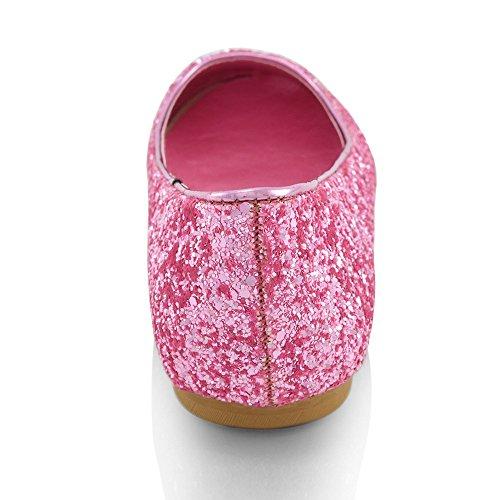 ESSEX GLAM Scarpa Donna Glitter Tacco Piatto Matrimonio Festa Rosa Glitter