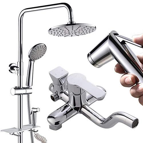 Europäisches 4-in-1-Duschsystem mit 8-Zoll-Regenduschkopf, 3-Funktions-Handbrause, verstellbarer Gleitschiene und poliertem Spritzlack
