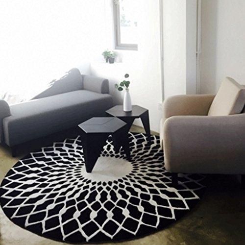YHJ alfombra Moda Blanco y negro Alfombra circular Sala de estar Tabla de café Alfombra Grande Dormitorio Estudio Habitación Mapa Habitación Alfombra Chino ( Color : A , Tamaño : 160cm Diameter Round )