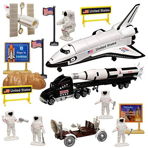 20 TLG. Set: Metall Space Shuttle Spielset Weltall mit Fahrzeugen und Zubehör (Spielzeug Space Shuttle)