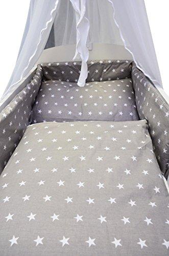 Best For Kids LUX Komplettset Babybett 60x120 cm mit Bettwäsche inkl. Decke und Kissen - 6 Design (Sterne grau)