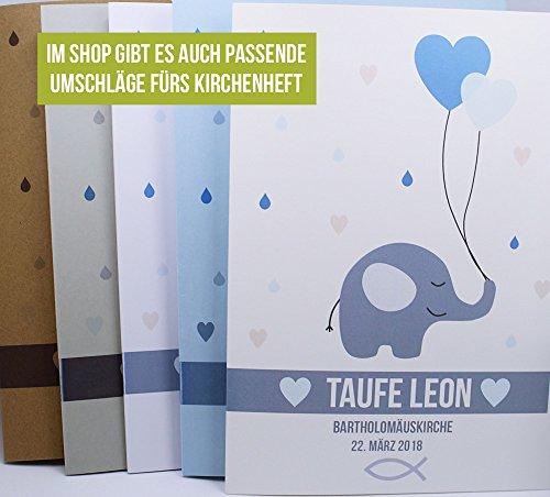 Taufkerze Elefanten Herz Junge Mädchen inkl. gratis Beschriftung mit Name und Datum - 4