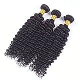 GFYWZ Frauen Welle Haarwebart 3 Bundles Extensions Curls Haareinschlagfaden 100% Menschliches Unverarbeitetes Natürliches Haar Schwarz 8-28Inch,24Inch