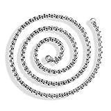 MASOP Titan Edelstahl Halskette Weizenkette Collier 4.5mm Breite Silber Ton Herren Damen Kette Link in 50 60 70 80 90 cm