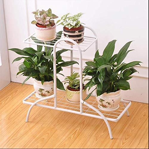 DX Blumenständer 2-stufiger Blumentopf mit Blumentopf aus modernem Metall für den Innen- und Außenbereich D Eacute; COR HUA0422J (Farbe: Weiß) -