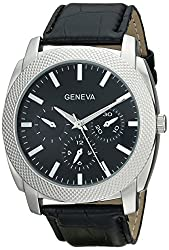Geneva Mens 2411E-GEN Silver-Tone Analog Watch with Black Croc-Textured Faux-Leather Band