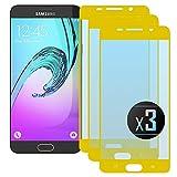 NEVEQ 3 x Samsung Galaxy A5 2016 (Gold) Panzerglas, Schutzfolie aus Hochwertigem gehärtetem Glas für Samsung Galaxy A5 (2016) Full Screen Gold (5.2 in) Zoll-Display, 9H-Härte Displayfolie.