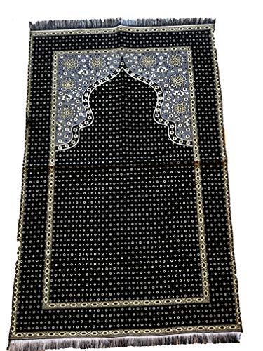Elegant entworfene Hohe Qualität Gebet Matte Teppiche Sejadah Sajadah Gebetsteppich Seccade Sejjada Islam Mekka Namazlik Orientteppich 110 x 70 cm Neu (Schwarz) - Islam-teppich