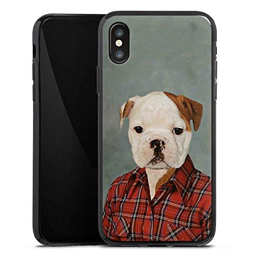 Apple iPhone X Silikon Hülle Case Schutzhülle Hund Dog Bulldogge Silikon Case schwarz
