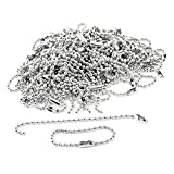 Visork Ball Bead Chains Connector Clasp Ball Chain Keychain Stainless Steel Ball Necklace Chain 2.4mm x 10cm For ID Card Badge Holders Dog Tags 100 Piece