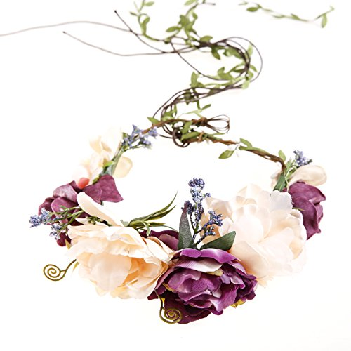 Wedding Floral Garland Flower crown Headband Vine Adjustable Ribbon for Women's Girls Hair Accessories Ever Fairy®
