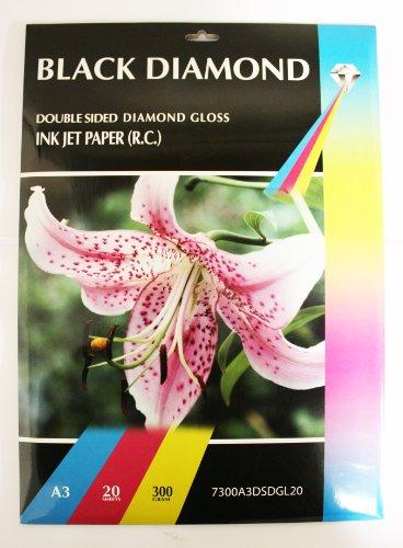 20fogli Black Diamond-lati, formato A3, 300g/mq bianco stampante a getto d' inchiostro, lucida e stampabile su entrambi i lati)