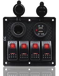 Fxc 4Gang Interrupteur à bascule Panneau avec double port USB chargeur d'alimentation 12V-24V pour auto Marine Bateau Remorque (Rouge)