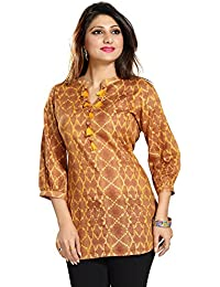 Color Petal Floral Design Printed Short Cotton Kurti / Tunic / Top For Women And Girls