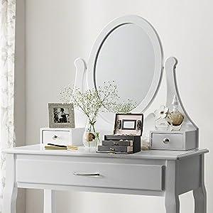 Portagioie Scatole per Gioielli Porta Gioielli Beauty Case Salvaspazio Scatola Custodia Box Scatola con Specchio Scatola Anello - Nero