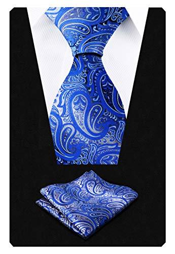 Alizeal Krawatte mit Einstecktuch, Paisleymuster, handgefertigt Gr. 150 cm Länge x 9 cm Breite, Gradient Royal Blue