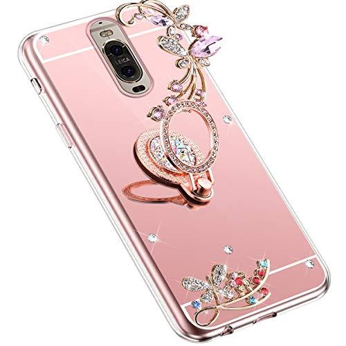 Uposao Kompatibel mit Huawei Mate 9 Pro Handyhülle Strass Diamant Bling Glitzer Spiegel Schutzhülle Mirror Case Schmetterling Blumen Silikon Hülle Tasche mit Ring Halter Ständer,Rose Gold