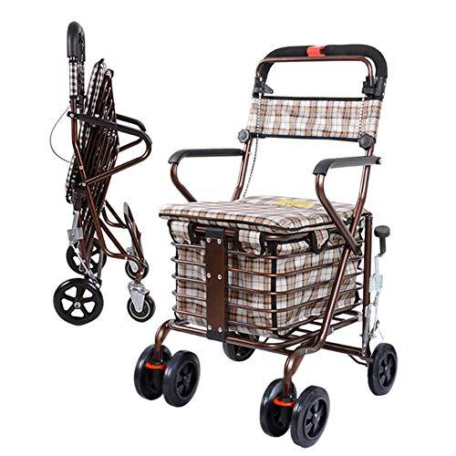 Intelligente Büromöbel (Einkaufstrolley Einkaufsroller Old Scooter Seat Seat Allrad Faltbare Scroll Utility Trolley Heavy Duty Leichtgewicht zum Einkaufen,B)