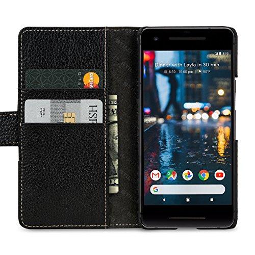 StilGut Talis Schutz-Hülle für Google Pixel 2 mit Kreditkarten-Fächern aus echtem Leder. Seitlich aufklappbares Flip Case in Handarbeit gefertigt für das Google Pixel 2, Schwarz