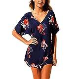 Muium Damen Das Kleid,Boho Sexy Frauen Sommer V-usschnitt Blumig Bedruckt Kleid Party Kleid Sommer Lose Strandkleid Abendkleid DunkelblauXL