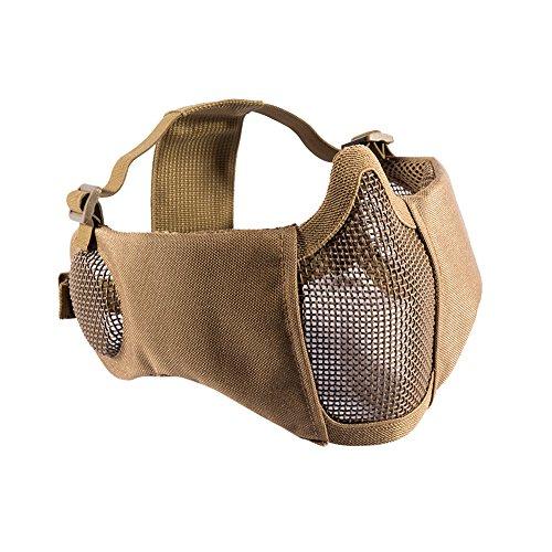 OneTigris Airsoft faltbare halbe Maske Mesh Gesichtsmaske mit Gehörschutz (Khaki)