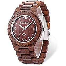 GBlife Bewell Wood Men Quartz Watch Roman Numeral Scales RED SANDALWOOD