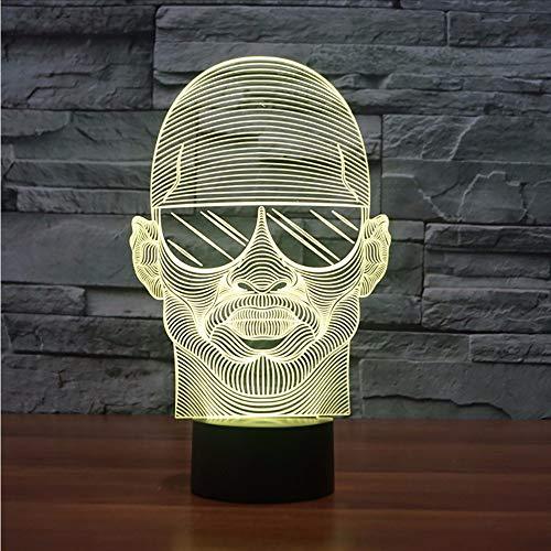 Dwthh Buntes Visuelles 3D Led-Nachtlicht-Tragende Sonnenbrille-Mann, Der Den Schreibtisch Beleuchtet Für Schlafzimmer Usb-Leuchtdekor-Nachttisch-Leuchte Beleuchtet