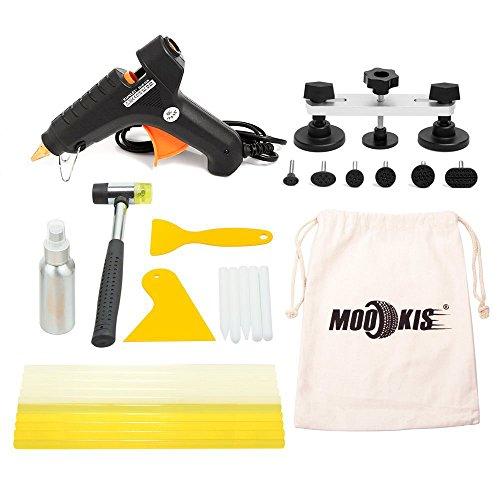 Pont Extracteur de réparation de carrosserie dent PDR outils, Mookis Pops A Dent Paintless dent outils de réparation kit avec pistolet à colle, colle chaude Bâtons, plastique Grattoir et de réparation Marteau