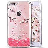 Uposao Bling Bling iPhone 7 Hülle Schutzhülle Bunt Bling Bling Strass Glitzer TPU Schutzhülle für iPhone 7 Plus - Rosa Kirschblüten Style Blumen Soft Silikon Cover Handyhülle Schale