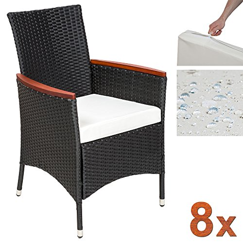 TecTake 8 Chairs 1 Table Luxury Rattan Garden Furniture Set Outdoor Wicker With Wood Brown
