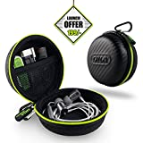 #6: Gizga Essentials Earphone Case - Multi Purpose Pocket Storage Travel Organizer Case for Earphone, Pen Drives, Memory Card, Data Cable - Carbon Fibre (Black/Green)