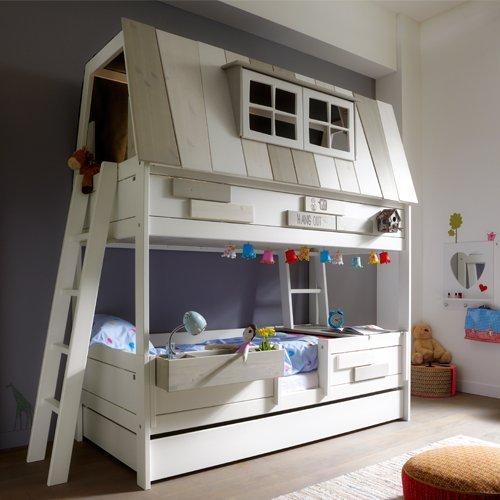 *Abenteuerbett / Spielbett HANG OUT, whitewash, Massivholz lasiert, 90x200cm*