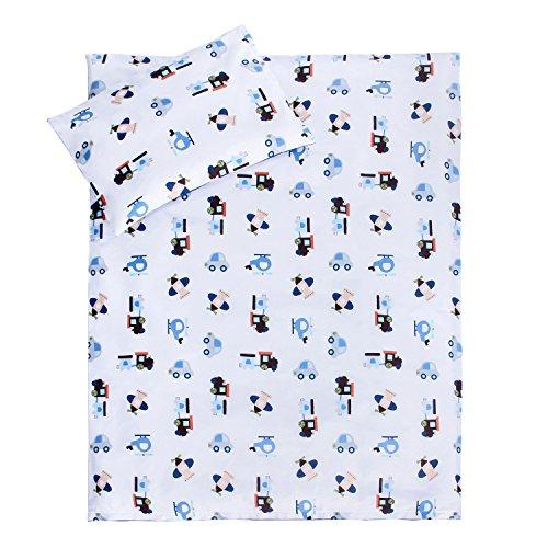 LULANDO Bettwäsche Kinderbettwäsche Bettset 2-teilig Kissenbezug und Bettbezug. Oberstoff 100% Baumwolle. Passend für Kinderbetten 70x140 cm. Farbe: Airplanes/Stripes